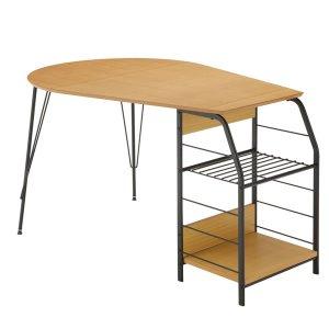 天然木オーク突板化粧天板ラック付テーブル/ブラックスチールフレーム(幅128奥行80高さ73cm)