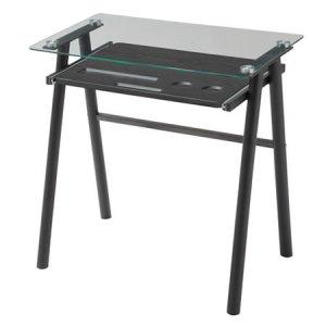スライドトレー付ガラストップデスク(ブラック 幅70奥行50高さ73cm)