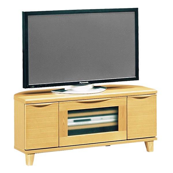 北欧風天然木コーナーTVボード フラップ扉タイプ(幅105奥行42高さ46cm)