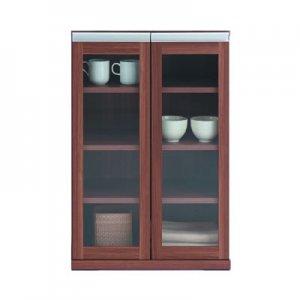 組合せスタッキング|ガラス扉キャビネット(リアルウォールナット柄 幅60.2奥行38.7高さ90)