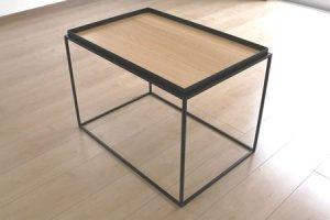 アイアン トレイテーブル ナラ突板(ブラック/幅60x奥行40x高さ41.2)