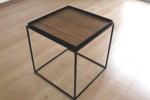 アイアン トレイテーブル ウォールナット突板(ブラック/幅40x奥行40x高さ41.2)