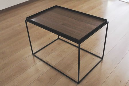 アイアン トレイテーブル ウォールナット突板(ブラック/幅60x奥行40x高さ41.2)