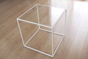 アイアン トレイテーブル ガラス天板(ホワイト/幅40x奥行40x高さ40)