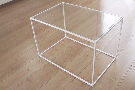 アイアン トレイテーブル ガラス天板(ホワイト/幅60x奥行40x高さ40)