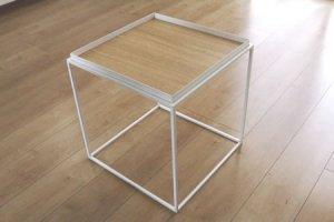 アイアン トレイテーブル ナラ突板(ホワイト/幅40x奥行40x高さ41.2)