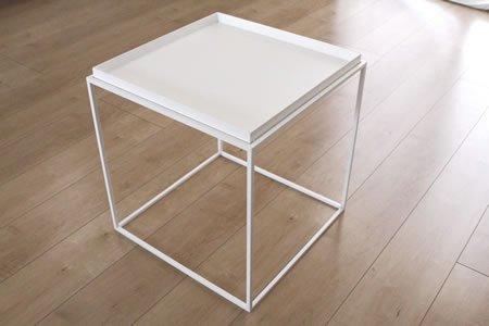 アイアン トレイテーブル(ホワイト/幅40x奥行40x高さ41.2)