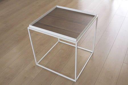 アイアン トレイテーブル ウォールナット突板(ホワイト/幅40x奥行40x高さ41.2)