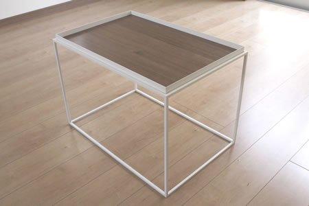 アイアン トレイテーブル ウォールナット突板(ホワイト/幅60x奥行40x高さ41.2)