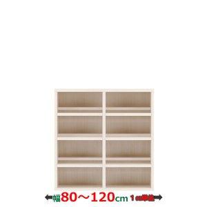 フナモコ コミックシェルフ/オーダー ストロングシェルフ前後収納 | ロータイプTL(ホワイトウッド 幅80〜120x奥行29.7x高さ113.8cm 完成品)