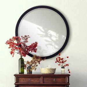 漆ウォールミラー 優美6060 / 和洋どちらにも似合う美しさ 漆仕上げの円形ミラー 飛散防止加工・壁ピタ(幅60x高さ60cm)