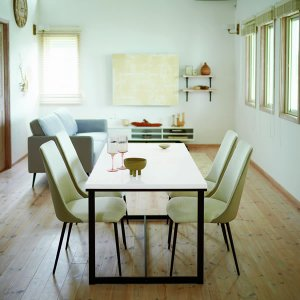 鏡面仕上げ天板とマットブラックのスチール脚 ダイニングテーブル DT-18-K150 (ホワイト/クールグレー鏡面 幅150x奥行75x高さ70cm)