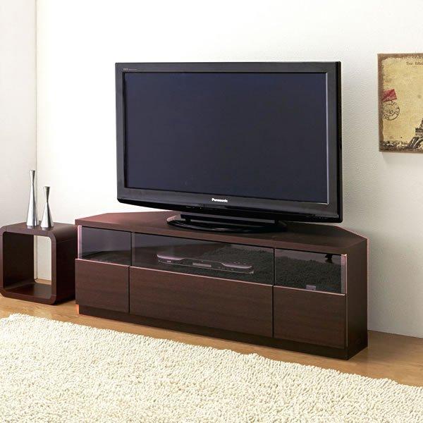 Dee ディー コーナーTVボード ブラウン色/壁面置きも可能 ゲーム機収納 37/46型対応(幅120x奥行43x高さ42cm 完成品)