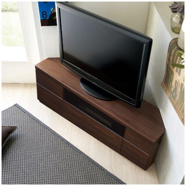 Dee ディー 超薄型コーナーテレビボード(ガラス付き)/壁面置きも可能 (幅120x奥行35.2x高さ41cm 完成品)
