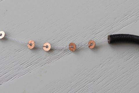 糸通しスパンコール/メタリック ライトブラウン3mm〔フランス製〕