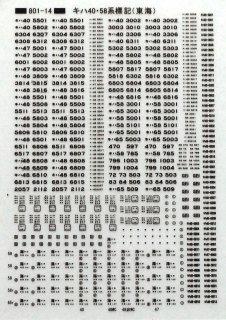 【N】TTL801-14 キハ58・40標記 東海