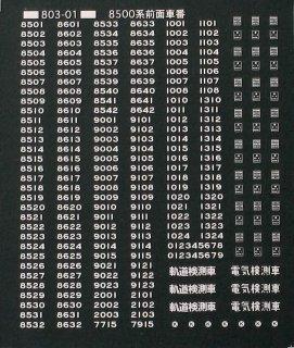 【N】TTL803-01A 車番標記白文字 8500系用