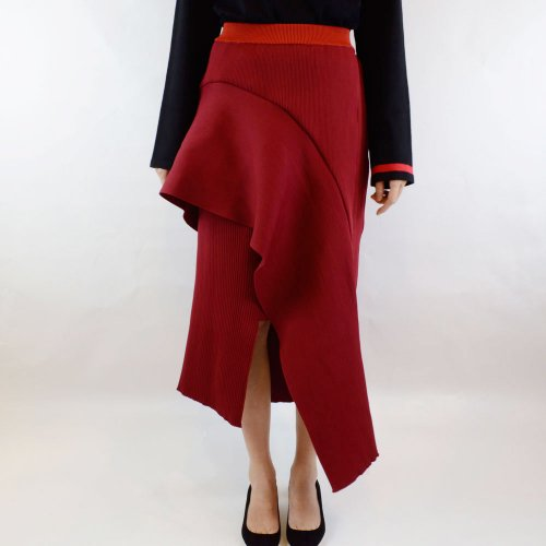 AKIRA NAKA【アキラナカ】CLEMENCE KNIT SKIRT RED