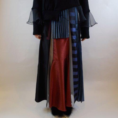 UN3D.【アンスリード】 プリーツミックススカート color: ボルドー