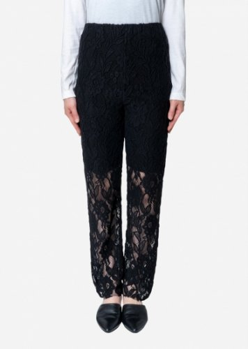 Bed&Breakfast【ベッドアンドブレックファスト】Floral Stretch Lace Pants in Black