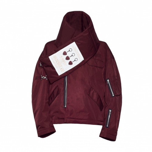 YUKI HASHIMOTO【ユウキハシモト】NYLON SCARFED BOMBER JACKET BURGANDY