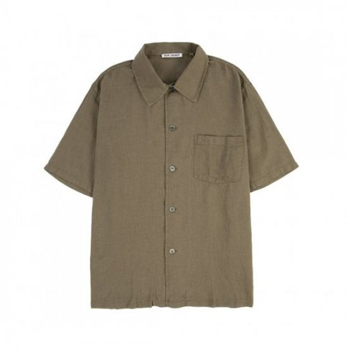 OUR LEGACY【アワーレガシー】BOX SHIRT SHORTSLEEVE DARK OLIVE SHEER COTTON LINEN M2212BSO