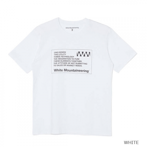 white mountaineering 【ホワイトマウンテンニアリング】 WM LABEL PRINTED T-SHIRT WHITE(WM2171517)