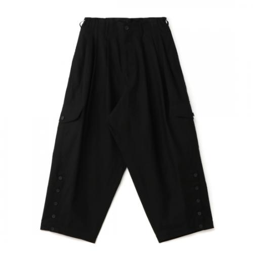 Yohji Yamamoto POUR HOMME BLACK C/TWILL HEM ADJUST PANTS (HD-P30-058-1-02)