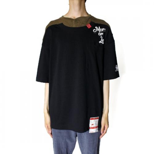Maison MIHARA YASUHIRO 【メゾンミハラヤスヒロ】 Henry Neck Docking T-shirt BLACK A06TS641