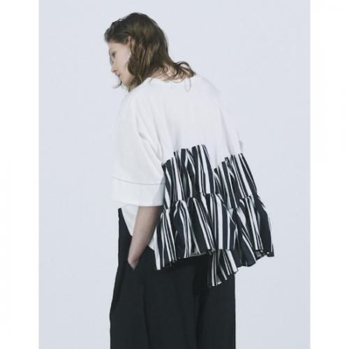 RUMCHE 【ラム・シェ】 RUMCHE Stitch Tiered Stripe Tops / white R21S10704