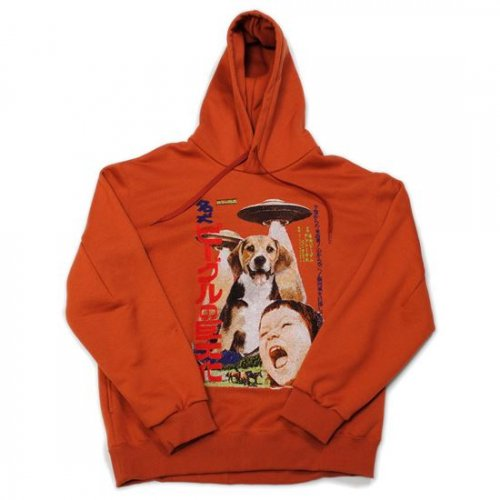 doublet【ダブレット】RETRO POSTER EMBROIDERY HOODIE BROWN  21AW23CS195