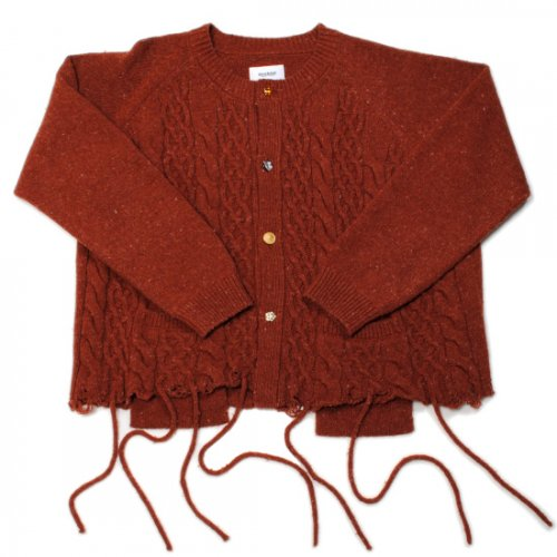 doublet【ダブレット】 RECYCLE WOOL CABLE CARDIGAN BROWN 21AW35KN56