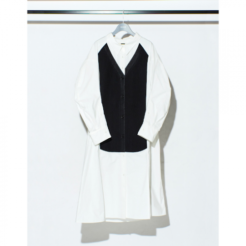 RUMCHE 【ラム・シェ】 Knit Bonding Shirt One-piece / black R20A10302-90