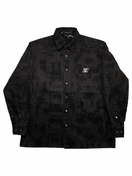 Long Sleeves Shirt In Washed Pixel Effect Denim