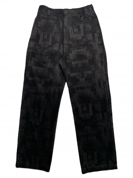 Trousers In Washed Pixel Effect Denim