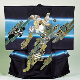 FE-2 変りちりめん地に刺繍と京友禅