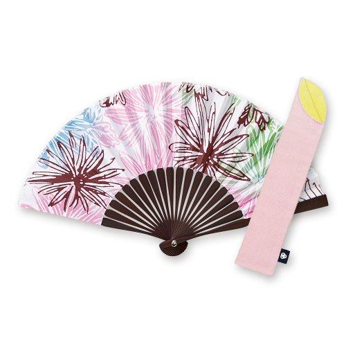 記憶の花影ピンク[扇子]