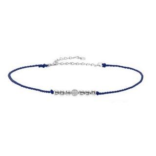 K10WG/ダイヤモンド/コードアンクレット(blue)/FORTUNE COLLECTION