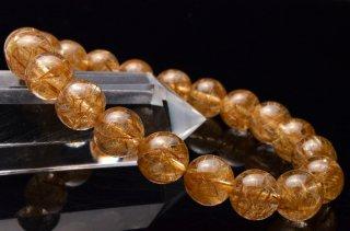 AAAAA高級 ゴールドルチルクォーツ 9.5mm 1点もの ブレスレット_V1344