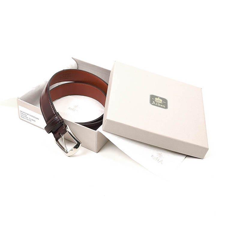 オールデン ALB001 CORDVAN Dress Belt No8 BURGUNDY メンズ