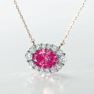 [完売]C004 PINKラボグロウンダイヤモンド<br>ペンダント/プラチナ&ピンクゴールド<br>0.90カラット
