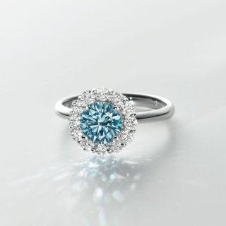 [お問合せ商品]C006 BLUEラボグロウンダイヤモンド<br>リング/プラチナ/1.02カラット