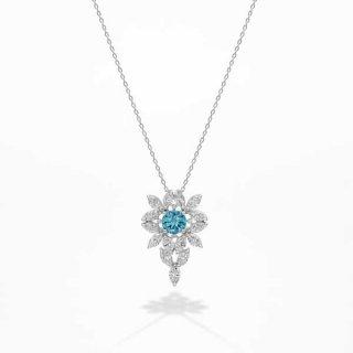 [お問合せ商品]C007BLUEラボグロウンダイヤモンド<br>ネックレス/プラチナ/1.01カラット