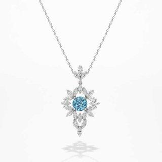 [お問合せ商品]C008 BLUEラボグロウンダイヤモンド<br>ネックレス/プラチナ/2.15カラット