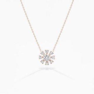 H022 ラボグロウンダイヤモンド<br>ネックレス / ピンクゴールド/ total0.50カラット