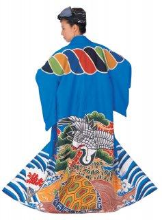 万祝衣装 まいわい着物(きもの) 青地 鶴 亀 大漁 縄 萬祝 ひとえ仕立て 漁師 大漁 祝い