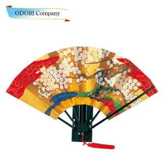 踊り用 金箔地黒骨 房付桜 さくら 9寸(27cm)飾り台・扇子箱入 飾り、撮影用