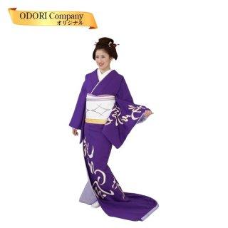 踊り 着物 裾引き 仕立て上がり 比翼無し紫地 文字柄