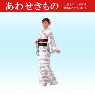 踊り 袷(あわせ) 仕立て上がり 白色 着物 ポリ100%