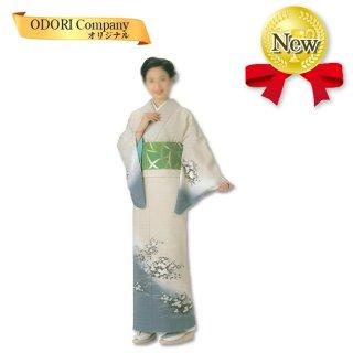 踊り 着物 舞踊 絵羽 袷仕立て フリーサイズ 仕立て上がり 花柄 白地ぼかし 当店限定商品